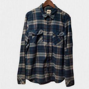 MEC Blue Organic Cotton Plaid Flannel Shirt L